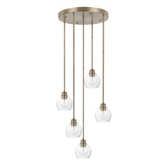 Capital Lighting Mid-Century Aged Brass Multi-Light Pendant with Bowl / Dome Shade