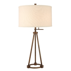 Design Classics Lighting Tripod Table Lamp in Bronze Finish with Cream Drum Shade JJ DCL M6816-604 / SH7546