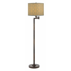 Bronze Swing Arm Lamp with Tan and Turquoise Drum Shade