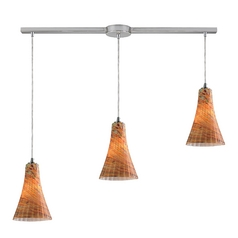 Elk Lighting Modern Multi-Light Pendant Light with Amber Glass and 3-Lights 10221/3L-amf