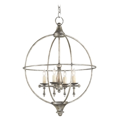 Currey and Company Lighting Dirty Silver Pendant Light