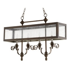 Quorum Lighting Champlain Vintage Copper Island Light with Rectangle Shade