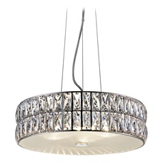 Access Lighting Magari Mirrored Stainless Steel LED Pendant Light with Drum Shade
