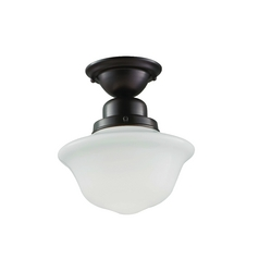 Semi-Flushmount Light with White Glass in Polished Brass Finish