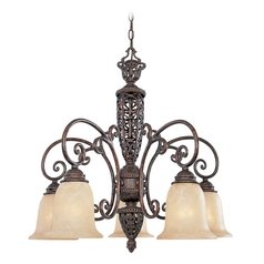 Chandelier with Beige / Cream Glass in Burnt Umber Finish