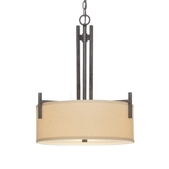 Three-Light Pendant with Natural Linen Shade