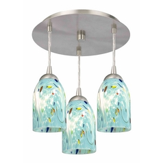 3-Light Semi-Flush Ceiling Light with Turquoise Art Glass - Nickel Finish