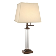 Design Classics Lighting Crystal Table Lamp with Cream Silk Square Shade JJ DCL M6903-604 / SH7634