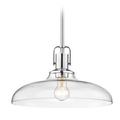 Clear Glass Pendant Light Chrome Finish  14-Inch Wide