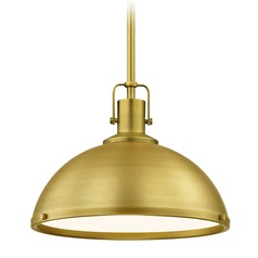 Farmhouse Brass Pendant Light 13.38-Inch Wide