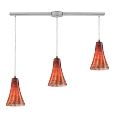 Elk Lighting Modern Multi-Light Pendant Light with Brown Glass and 3-Lights 10221/3L-dsk