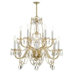 Crystorama Traditional 2-Tier 12-Light Crystal Chandelier in Polished Brass