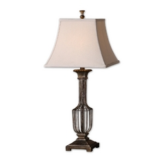 Table Lamp with Beige / Cream Shade in Gold Leaf Finish