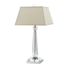 Modern Table Lamp with Beige / Cream Shade in Chrome Finish
