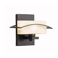Kichler Sconce Wall Light with White Glass in Black Finish