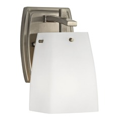 Wall Sconce Light in Satin Nickel Finish with White Square Glass