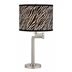 Design Classics Lighting Pauz Swing Arm Table Lamp with Zebra print Lamp Shade 1902-09 SH9485