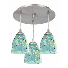 3-Light Semi-Flush Light with Turquoise Art Glass - Nickel Finish