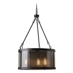 Feiss Lighting Bluffton Oil Rubbed Bronze Pendant Light with Drum Shade