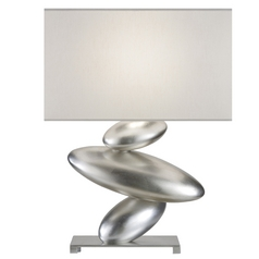 Fine Art Lamps Recollections Platinized Silver Leaf Table Lamp with Oval Shade