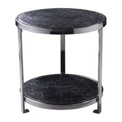 Coffee & End Table in Black Faux Croc Finish
