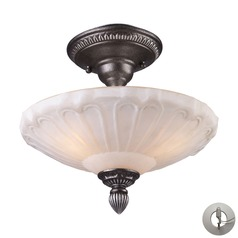 Restoration Flushes Dark Silver Semi-Flushmount Light - Includes Recessed Adapter Kit
