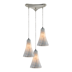 Elk Lighting Modern Multi-Light Pendant Light with White Glass and 3-Lights 10221/3whs