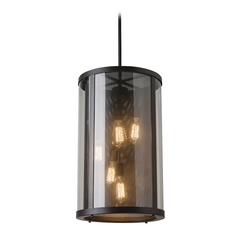 feiss lighting bluffton oil rubbed bronze pendant light with cylindrical shade - Bronze Pendant Light