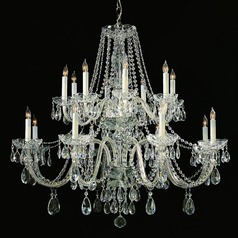 Crystorama Traditional 2-Tier 16-Light Crystal Chandelier in Polished Chrome
