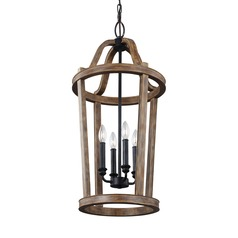 Feiss Lighting Lorenz Weathered Oak Wood / Dark Weathered Zinc Pendant Light