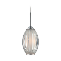 Lite Source Lighting Lotuz Chrome Mini-Pendant Light with Oval Shade