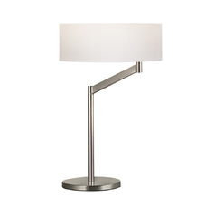 Modern Table Lamp with White Shade in Satin Nickel Finish