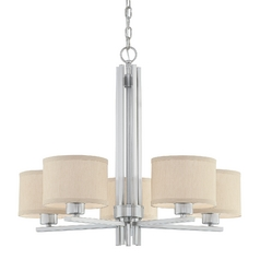 Dolan Designs Lighting Five-Light Nickel Chandelier with Beige Drum Shades 2940-09