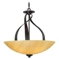 Pendant Light with Brown Glass in Imperial Bronze Finish