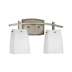 Wall Sconce Light In Satin Nickel Finish With White Square Glass - Square bathroom sconce