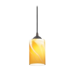 Design Classics Lighting Bronze Mini-Pendant Light with Butterscotch Art Glass Shade 582-220 GL1022C