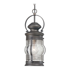 Outdoor Hanging Light with Clear Glass in Oil Rubbed Bronze W / Gold Highlights Finish