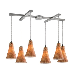 Elk Lighting Modern Multi-Light Pendant Light with Amber Glass and 6-Lights 10221/6amf
