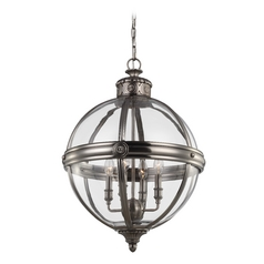 Feiss Lighting Adams Antique Nickel Pendant Light with Globe Shade