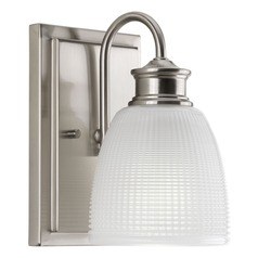 Farmhouse Sconce Prismatic Glass Brushed Nickel Lucky by Progress Lighting
