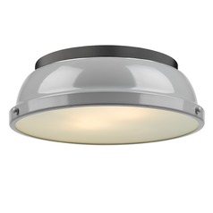 Golden Lighting Duncan Grey Flushmount Light with Black Accent