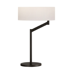Modern Table Lamp with White Shade in Coffee Bronze Finish
