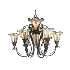 Chandelier with Art Glass in Tuscan Silver Finish