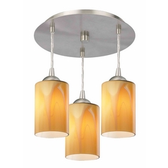 3-Light Semi-Flush Light with Butterscotch Art Glass - Nickel Finish