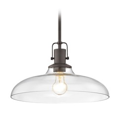 Clear Glass Pendant Light Bronze Finish  14-Inch Wide
