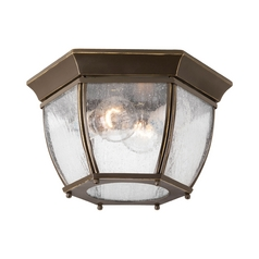 Seeded Glass Outdoor Ceiling Light Bronze Progress Lighting