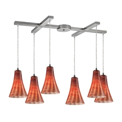 Elk Lighting Modern Multi-Light Pendant Light with Brown Glass and 6-Lights 10221/6dsk