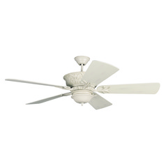 Craftmade Lighting Pavilion Antique White Distressed Ceiling Fan with Light