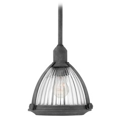 Aged Zinc Holophane Glass Mini-Pendant Light by Hinkley Lighting