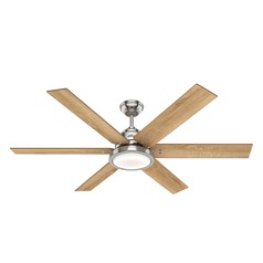 Hunter 60-Inch Brushed Nickel LED Ceiling Fan with Light and Wall Control